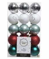 Zilver groen rode kerstversiering kerstballenset kunststof 6 cm