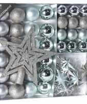 Zilver ijsblauwe kerstversiering kerstballen set 45 delig