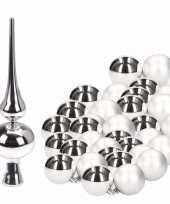 Zilveren kerstboom versiering set met 36 kerstballen en piek