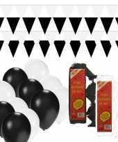 Zwart witte feest versiering pakket huiskamer